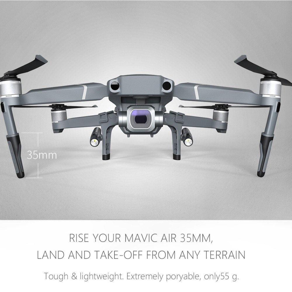 PGYTECH Mavic 2 Landing Gear with LED Headlamp Set for DJI Mavic 2 Pro/Zoom Extended Extension Legs Holder Skeletons Accessories