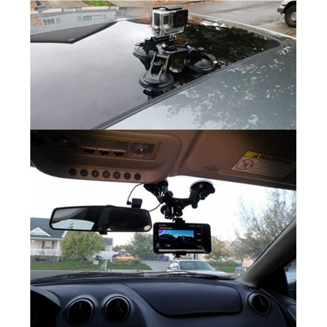 Triple Strong Suction Cup Car Sucker Holder Mount With Tripod Heads Gimbal Adapter For Gopro 7 6 5 Yi 4K+DJI Osmo Action SJCAM