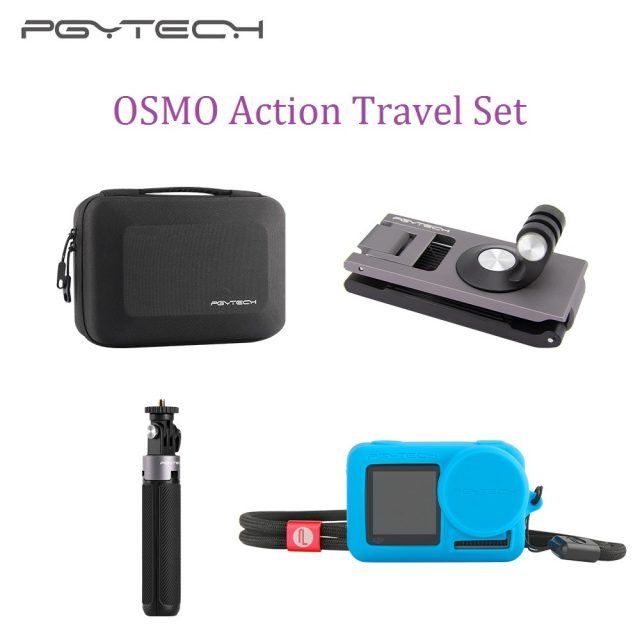 PGYTECH Osmo Action Camera Travel Set Extension Pole Tripod Mini Strap Holder Carrying Case for DJI OSMO ACTION Accessories