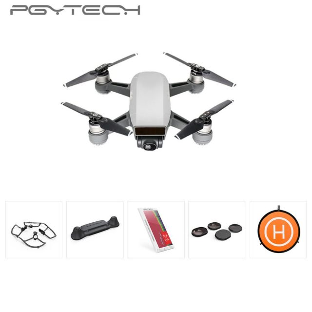 PGYTECH 5pcs set Include Landing Pad 75 cm & Lens Filter 4pcs & Remote Control Guard & Propeller Guard &Riser Kit For DJI Spark